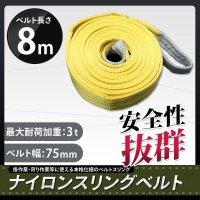 ナイロンスリングベルト 耐荷重3.0t×8m 1本 / 玉掛け 吊上げ ロープ 牽引
